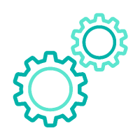 Two gears turning togehter