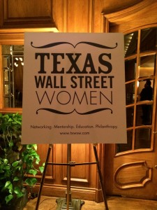 Texas Wall Street Women sign on display
